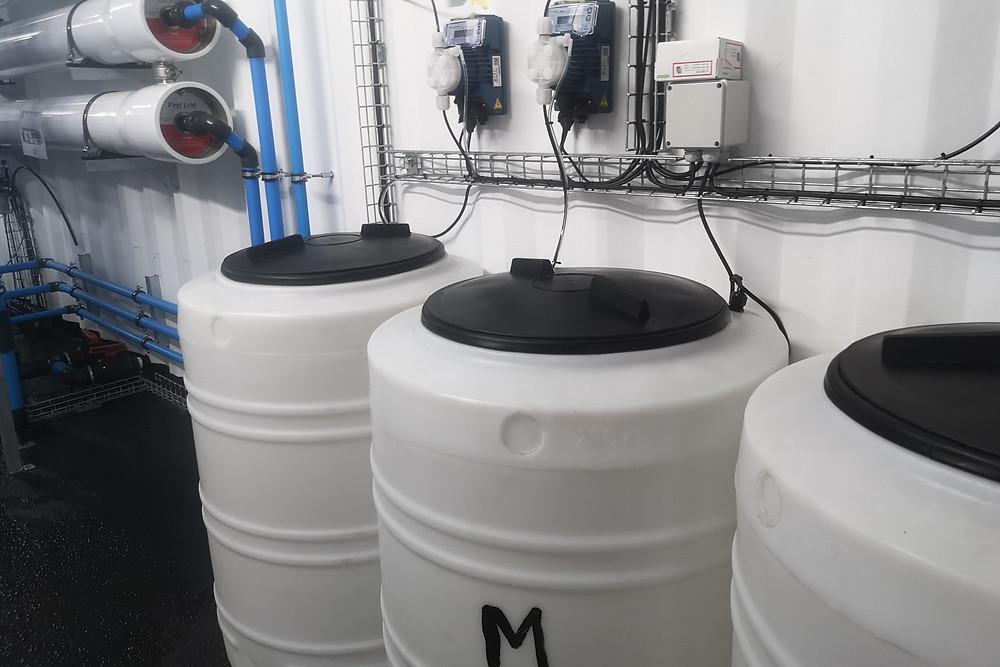 Sodium hypochlorite dosing tanks