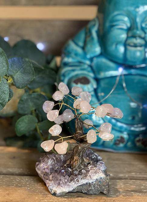 Rose quartz bonsai tree