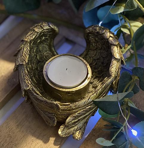 Antique gold angel wing tealight holder