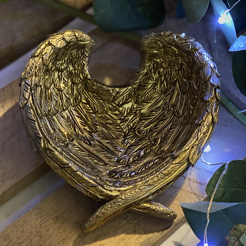 Angel wing dish - antique gold