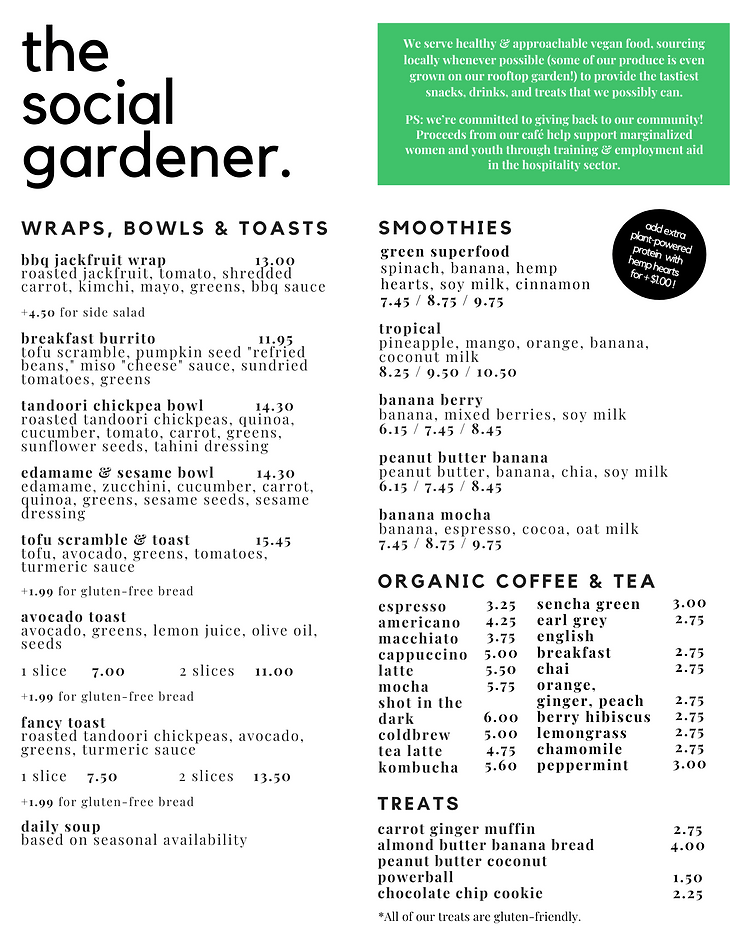 Social Gardener Cafe - Menu (OCT 2020) (