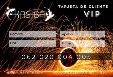 Tarjeta de cliente VIP Kasiba Restaurante