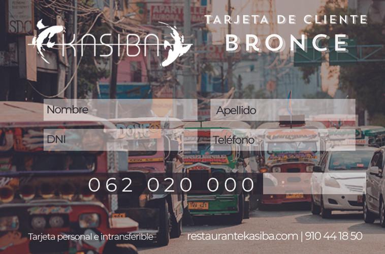 Tarjeta de cliente Bronce Kasiba Restaurante