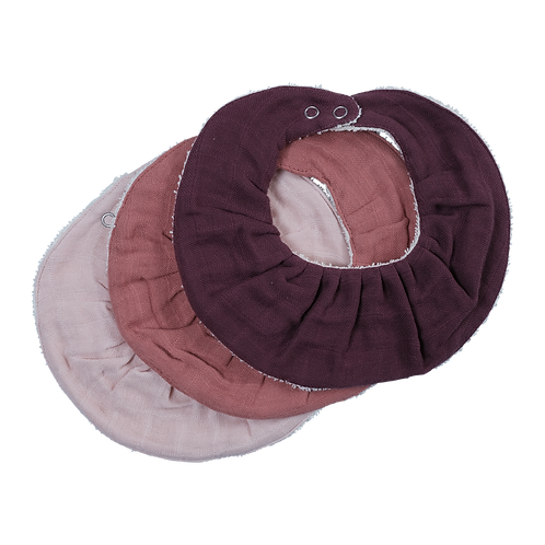 Fabelab Ruffle Bib - 3 Pack - Berry