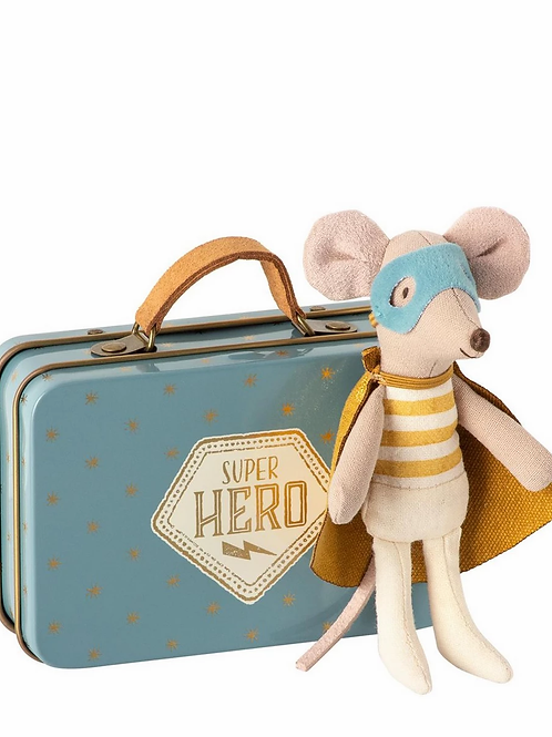 Maileg Superhero Mouse Little Brother In Suitcase