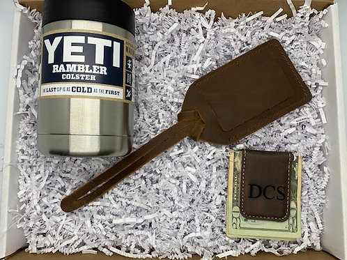 Yeti Colster with luggage tag and money clip