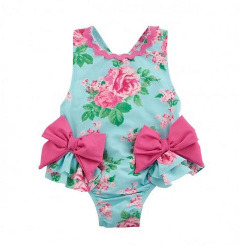 Aqua Floral Swim Suit