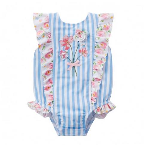 Striped Floral Swim Suit