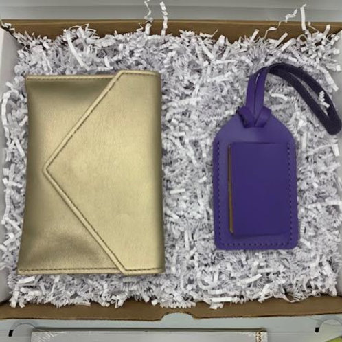 Gold Crossbody with luggage tag