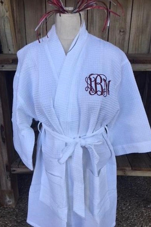 White Waffle Robe with Monogram