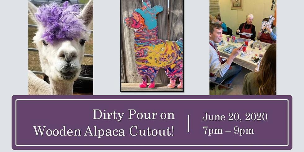 Wine & Palette: Dirty Pour on Wooden Alpaca Cutout
