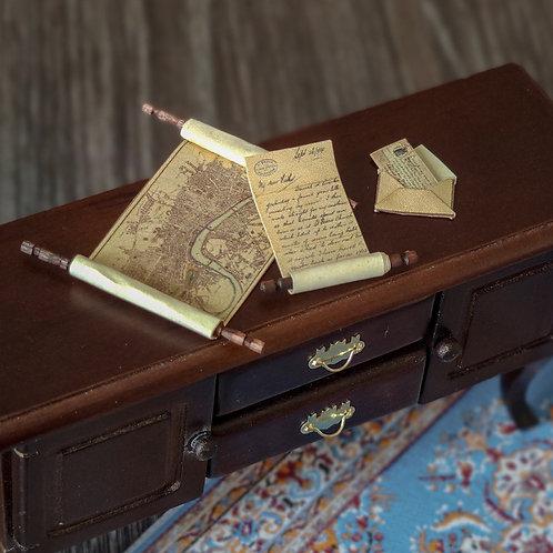 Set Maps and scroll 1/12 miniature