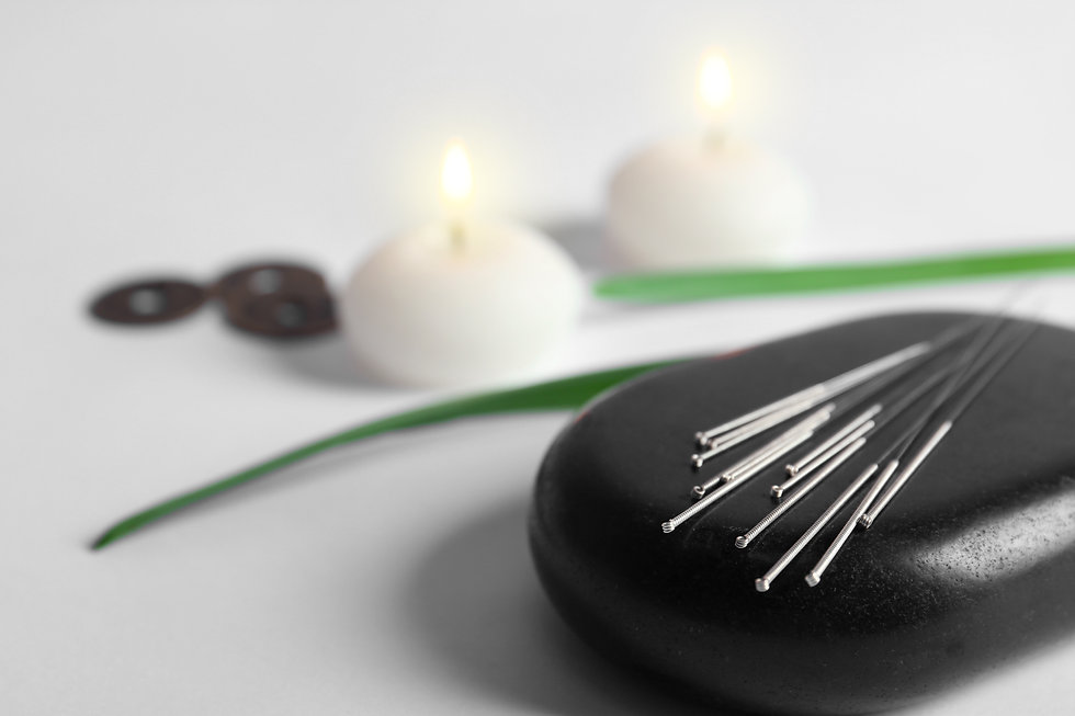 Black spa stone with set of acupuncture
