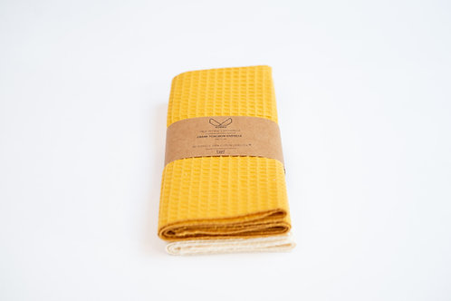 Torchon vaisselle nid d'abeille made in France coloris moutarde