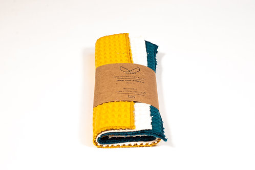 Essuie tout lavable en coton nid d'abeille coloris bleu