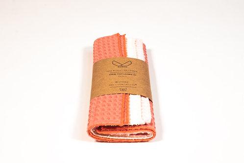 Essuie tout lavable en coton nid d'abeille coloris rose