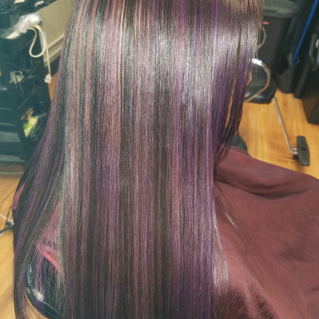 Custom Purple Highlights With D. Michael Silk Press