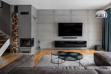 Tv living room with cement wall and wall