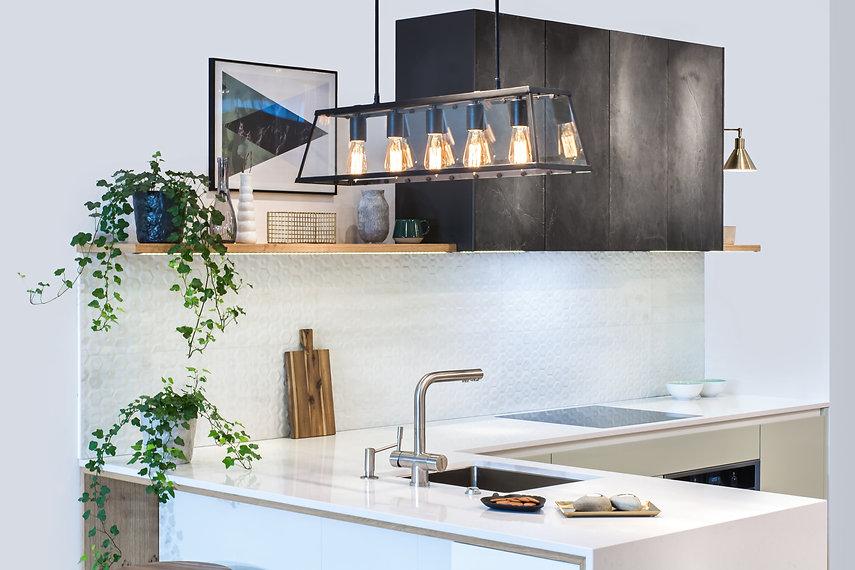 Modern kitchen design in home interior.