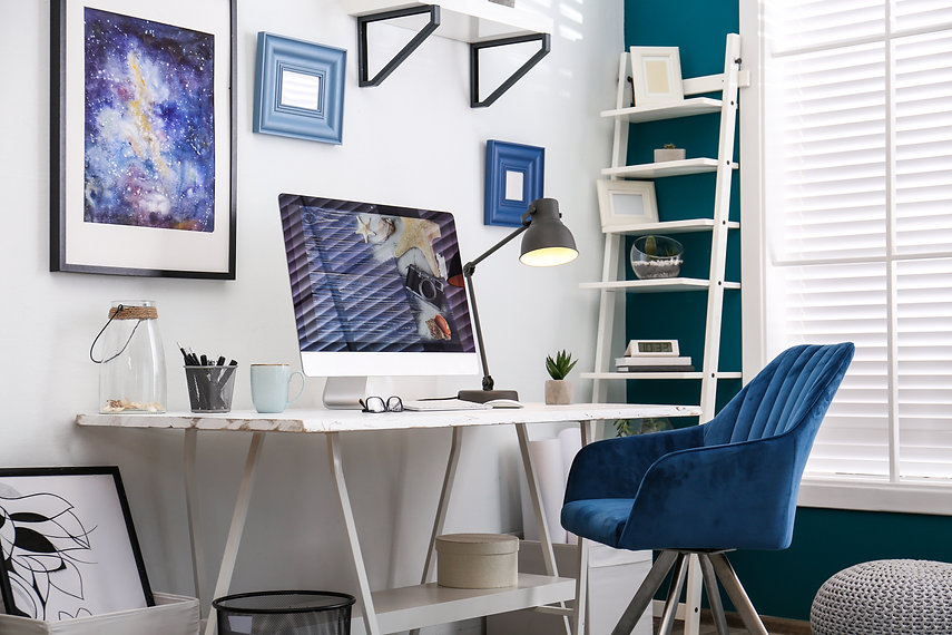 Home workplace with modern computer and