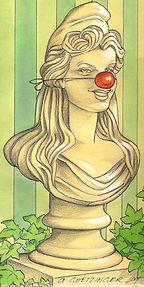 Marianne, symbôle de la France est utilisée pour développer une touche burlesque et pittoresque