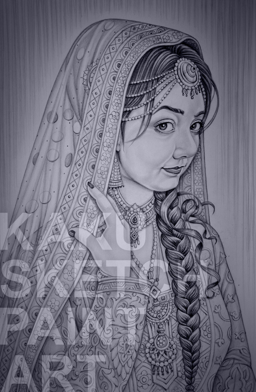 Dulhan pencil sketch art