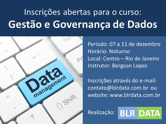 Inscrições abertas para o curso Gestão e Governança de Dados