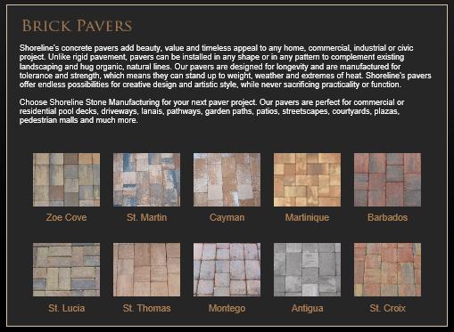 Shoreline Brick Paver Selection