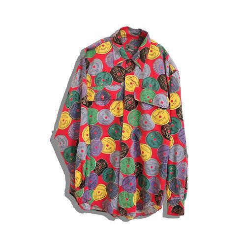 90's Record Pattern Rayon Shirt