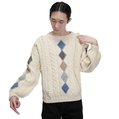 Boat Neck Diamond Hand Knit