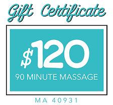 90 Minute Massage Gift Certificate