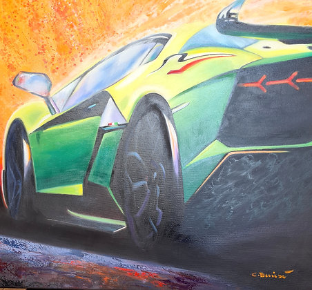 Cathy Deniset -GREEN LAMBORGHINI