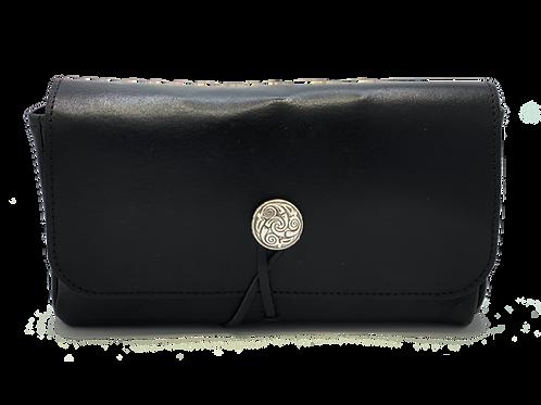 Concho closure, Black Calf leather, 5 bottle case