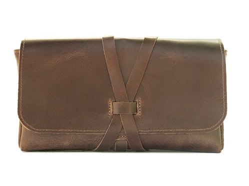 Wrap Closure, Vintage Brown leather, 5 bottle case