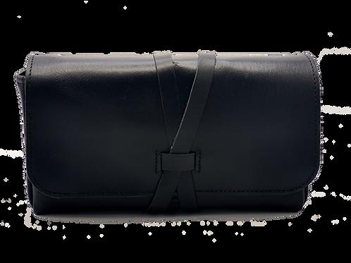 Wrap Closure, Black Calf leather, 5 bottle case