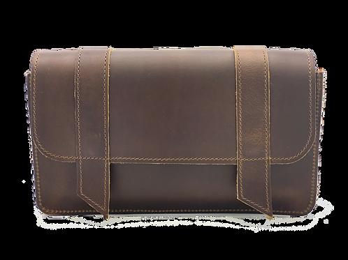 Saddlebag, Vintage Brown leather, 5 bottle case