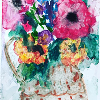 Watercolor Flowers In A Vase by Artist Terry Eldridge