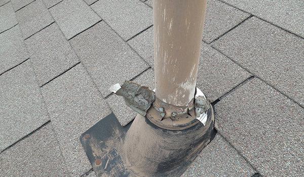 Prior Roof Repair-Damaged Rubber Boot