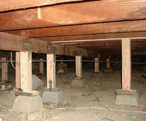 Clean Pier and Beam Crawl Space