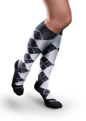 Compression Knee Highs for Men & Women, Patterned Core Spun by Therafirm