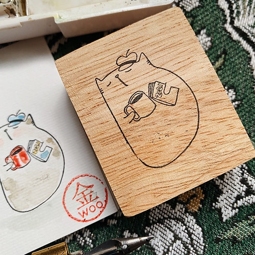 Catdoo rubber stamp - cat,book and coffee series- chill out