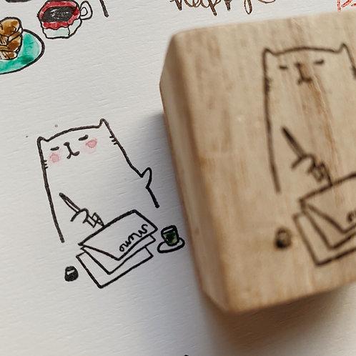 Catdoo rubber stamp - Writing Meowmo