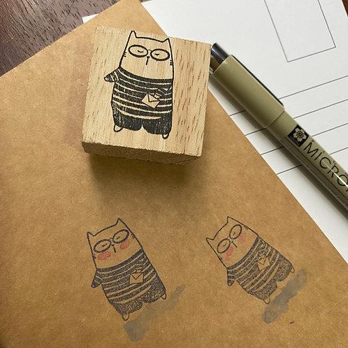 Catdoo rubber stamp - little stripe cat