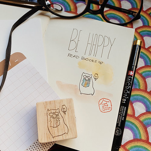 Catdoo rubber stamp - Happy reading meow