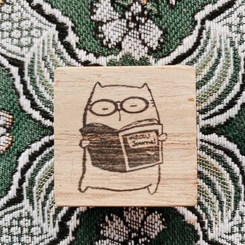 Catdoo rubber stamp - Meow Journal
