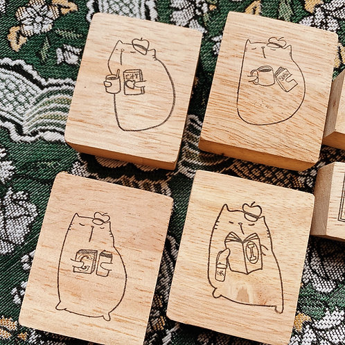 Catdoo rubber stamp - cat, book and coffee series set
