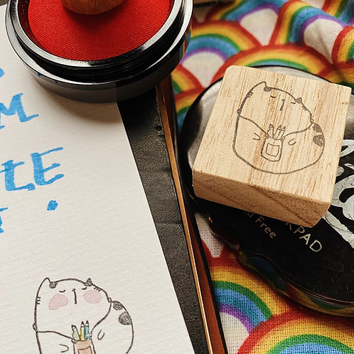 Catdoo rubber stamp - Neko&Book series 2 Writing Meow