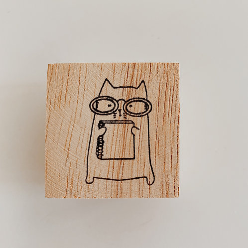 Catdoo rubber stamp - Journal with meow