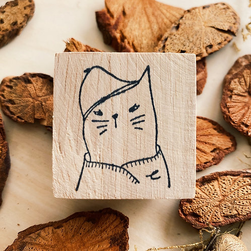 Catdoo in winter clothes rubber stamp