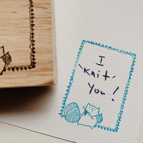 "Catdoo label stamp - Limited edition ""I knit you'"